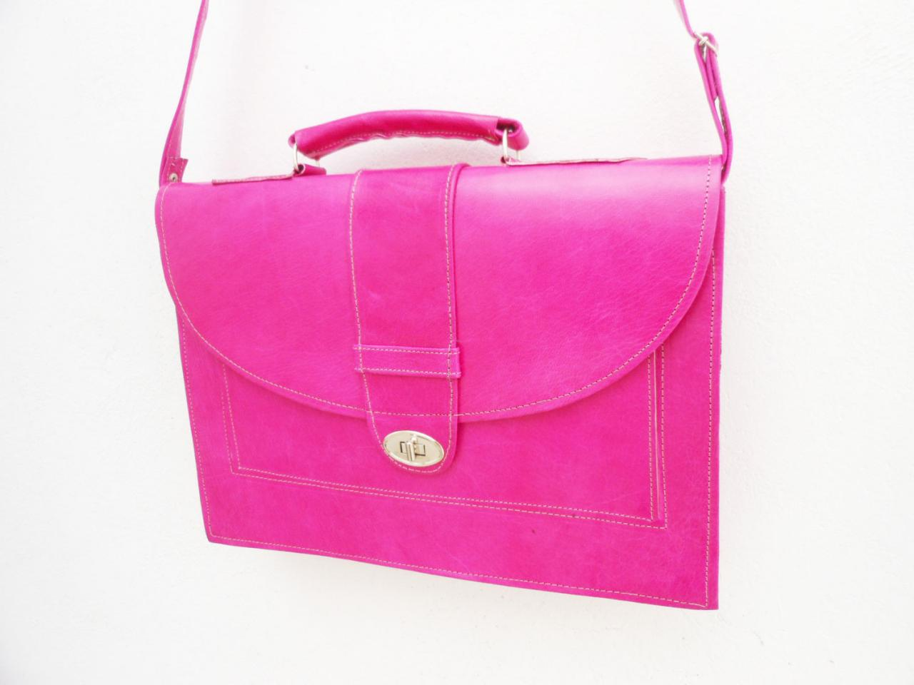 pink leather messenger bag for women laptop satchel